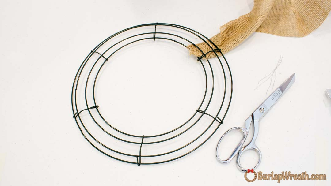 step 1 - Wire Wreath Frame With Ties